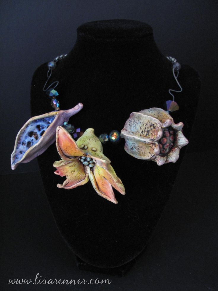 """Lisa Renner: """"This is a pod necklace I made after taking Doreen Kassel's on line workshop (Making Polymer clay Pods) through Craft Cast."""""""