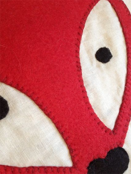 Red Fox face appliqué pillow by BonitoFracaso on Etsy