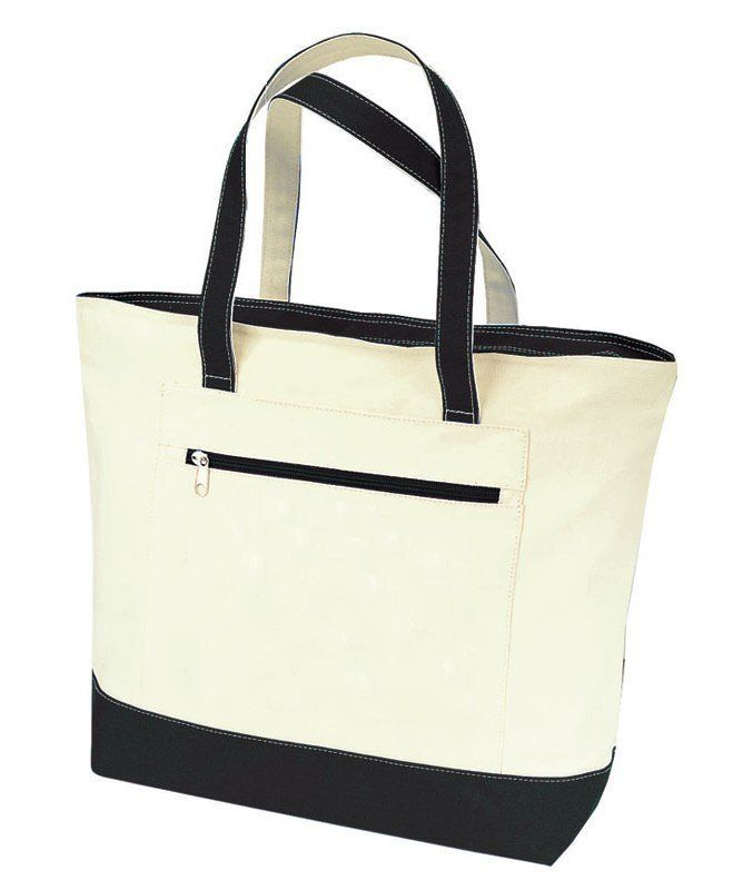 This heavy canvas tote bag has a handy zippered side pocket to keep your…
