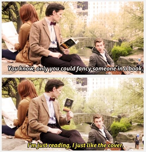 """Rory: """"What's the book?"""" 11th Doctor: """"Melody Malone. She's the private detective in Old Town New York."""" Amy: """"She's got ice in her heart and a kiss on her lips and a - a vulnerable side she keeps well hidden."""" 11th Doctor: """"Oh, you've read it?"""" Amy: """"You read it! Aloud. And then went, 'Yowza!'"""" S7E5: The Angels Take Manhattan [gifs]"""
