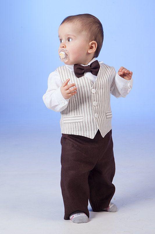 Niño traje de lino anillo portador traje bebé niño bautismo