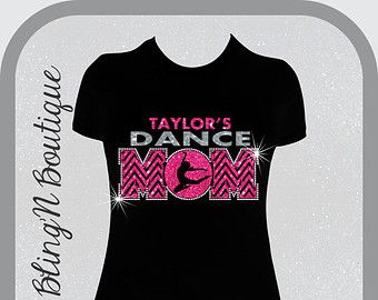 Dance Mom Chevron Custom Name Glitter and Bling Shirt, Dance Mom Shirts, Bling Dance Mom Shirts