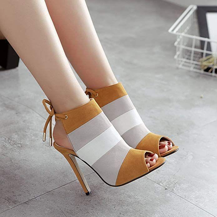half off 394a2 6965f YIBLBOX Damen Peeptoe High Heel Pumps Sandalen Party Schuhe ...