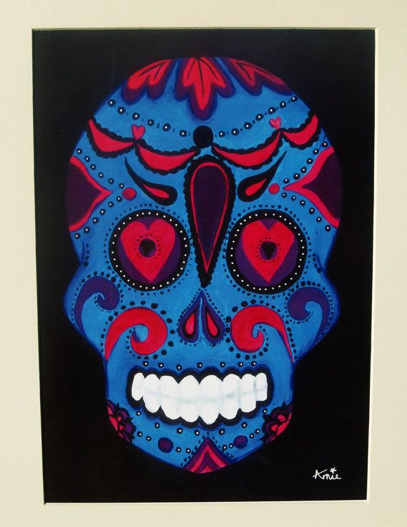 Original Acrylic Sugar Skull Print  Black And by ArniesArtwork, £26.00