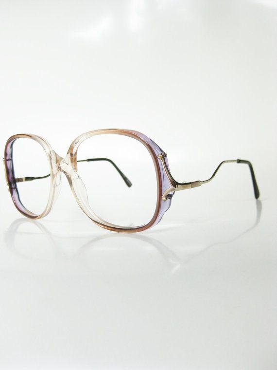 Vintage 1970s Oversized Eyeglasses Womens Sunglasses Oversized Huge Grandma Blue Pink Pastel Clear Transparent Hipster New Wave Chic 70s