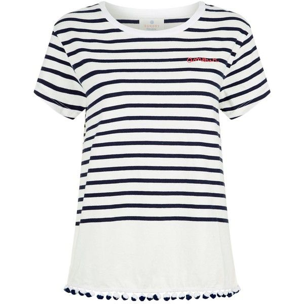 Sundry Amour Pom Pom Hem T-Shirt (8,780 INR) ❤ liked on Polyvore featuring tops, t-shirts, striped tee, cotton t shirts, stripe t shirt, boxy t shirt and embroidered top