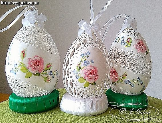 eggs carved - pisanki - wydmuszka gęsia ażurowa - BJGoleń