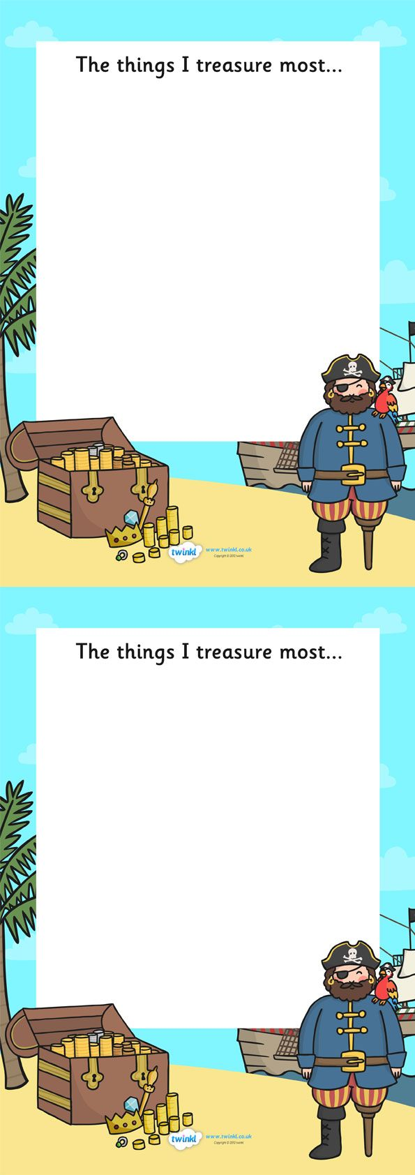 Twinkl Resources >> The Things I Treasure Pirate Writing Frame >> Thousands of printable primary teaching resources for EYFS, KS1, KS2 and beyond! pirate writing frame, things i treasure, pirate, pirate themed,