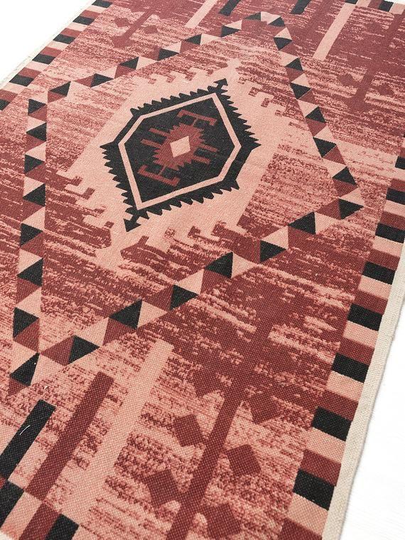 Traditional Block Printed Carpet Cotton Dhurrie Handmade 4 X 6 Rug Boho Picnic Rug Hand Woven Beach Living Room Area Rugs Living Room Decor Traditional Tribal Rug