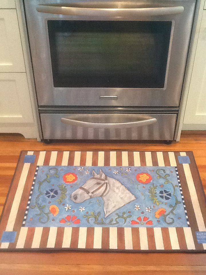 """""""Horse and Flowers"""" floorcloth in the kitchen."""