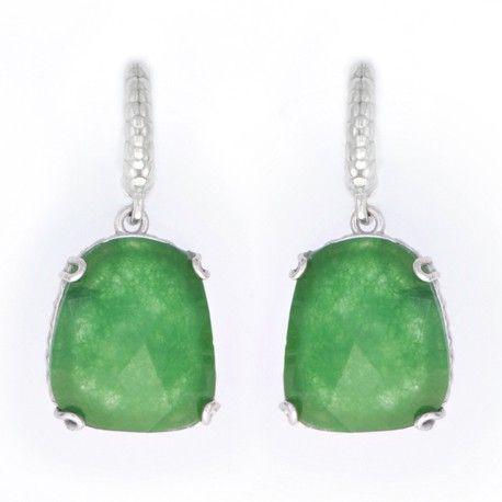 Pendiente en plata rodiada y jade esmeralda 17mm x 15mm    ¡Sólo 29€!    #Joyería #Jewelry #Plata #Silver