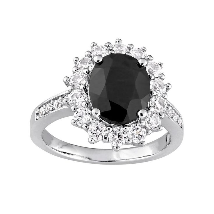 Sterling Silver Black Sapphire & Lab-Created White Sapphire Halo Ring, Women's, Size: 8