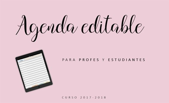 Agenda docente para el curso 2017-2018. Agenda escolar 2017-2018. Agenda editable e imprimible.