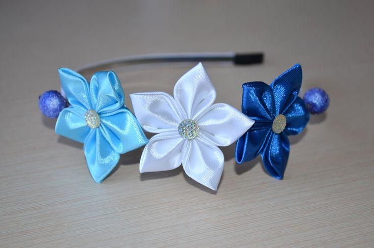 Цветы из лент Мастер класс канзаши ободок атласные цветы DIY flowers fro...