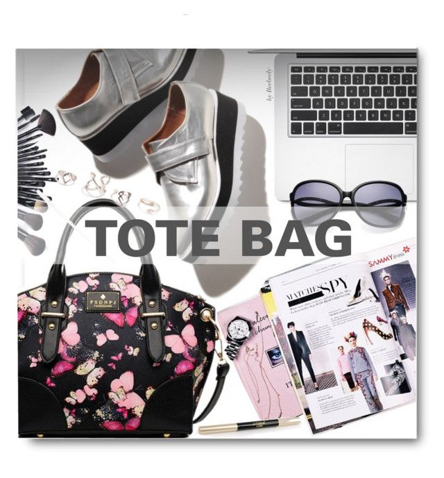 """Tote Bags"" by beebeely-look ❤ liked on Polyvore featuring women's clothing, women's fashion, women, female, woman, misses, juniors, sammydress, apple and totebags"