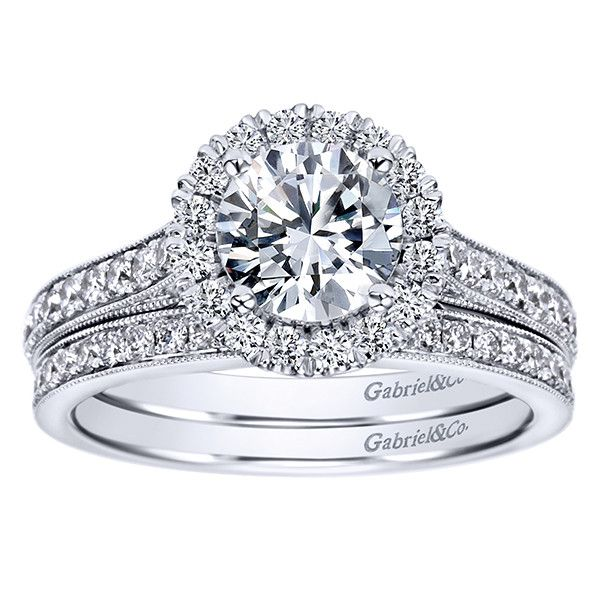 1 47cttw Round Halo Diamond Engagement Ring With Bead Set Side Diamonds
