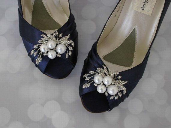 Wedding Shoes Navy Pearl Bridal Bride On Budget Blue Low Heel Satin