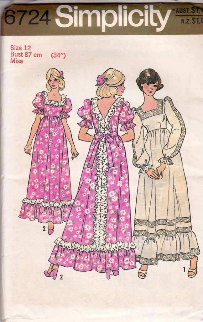 1970s Ruffled Maxi Dress Pattern Simplicity 6724 Vintage Sewing Pattern Bust 34 inches UNCUT Factory Folded