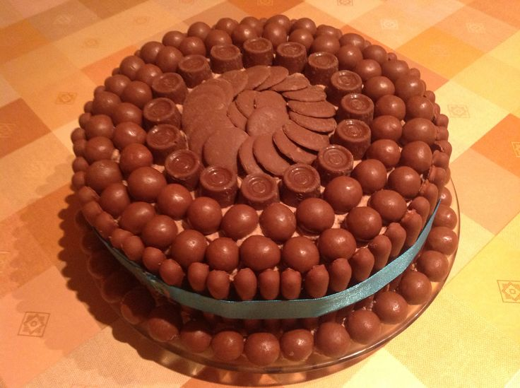 I made this cake for my granddaughters birthday, she really loved it. So easy to make, just a basic chocolate cake covered in choc buttercream and decorated with Cadburys fingers an choc sweets of choice. I used maltteasers, rolo an cadbury choc buttons, very effective !
