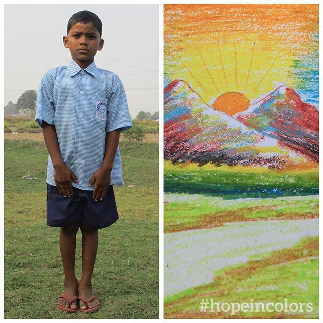 Subrata is 6, and he created this pastel art for the Colors of Hope competition. Amazing! This beautiful sunrise reminds us here at GFA that we have hope for a brighter tomorrow. What comes to your mind? #hopeincolors #beautiful #sunrise #BridgeofHope
