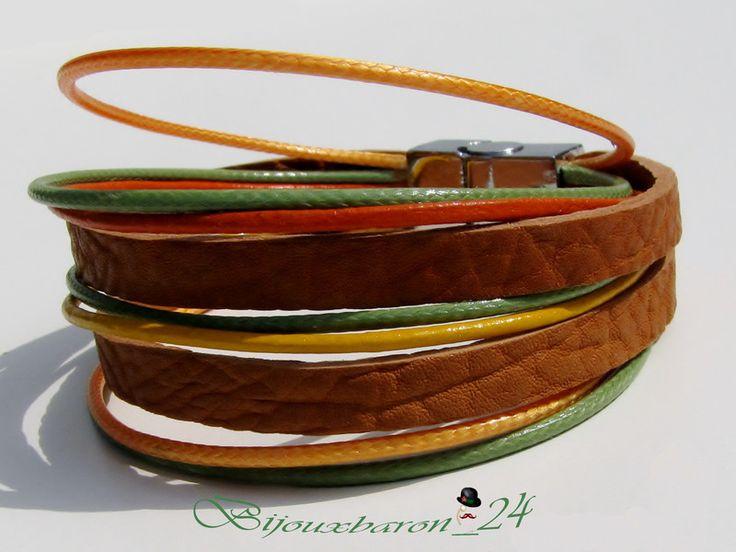 Lederarmbänder - Armband in Farben des Herbstes, Leder - ein Designerstück von Bijouxbaron bei DaWanda