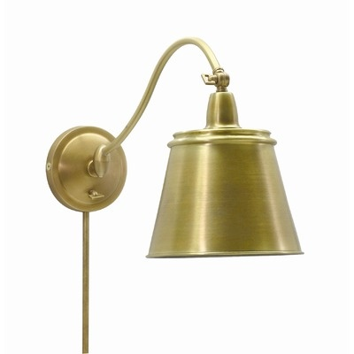 in the nook master bedroom house of troy hyde park swing arm wall lamp in weathered brass with metal shade