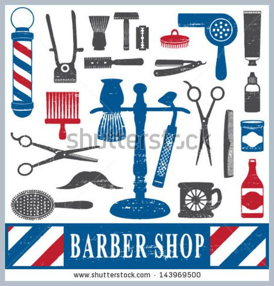 barber shop parties | Vintage barber shop tools silhouette icons set 2 #143969500