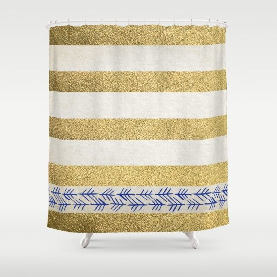 gold and white striped shower curtain. Striped Shower Curtains  Gold Stripes Metallic White Bands 49 best SHOWER CURTAINS metallic images on Pinterest