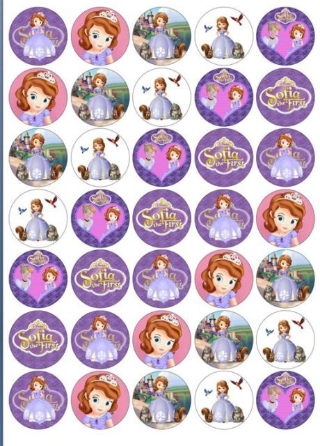 35x Disney Princess Sofia The First Cup Cake Toppers Rice