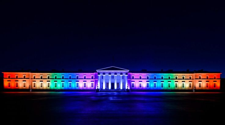 The front of the Royal Military Academy Sandhurst is lit up in rainbow colours in celebration of Pride 2016. Photograph: Corporal Pete Brown/PA