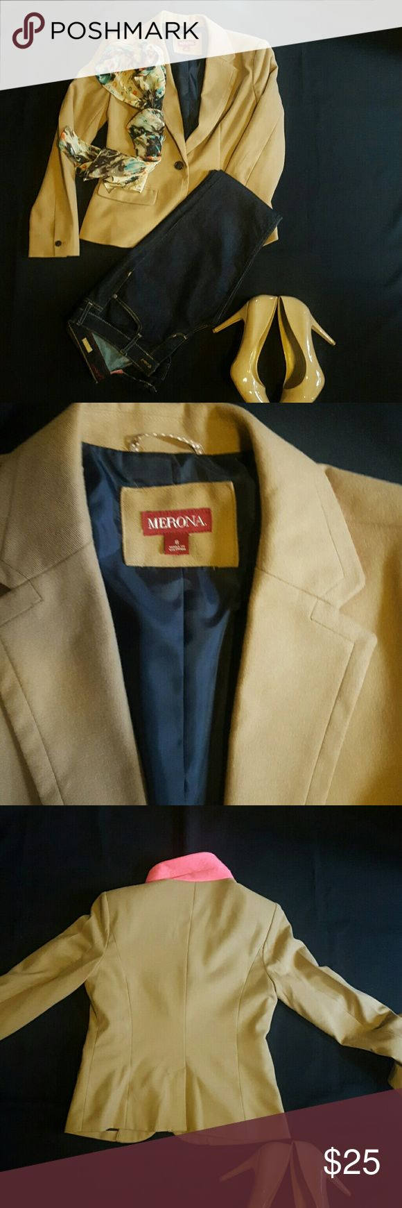 Camel Blazer Size 8 camel colored blazer. Great blend of materials for a slender fitted look. Can be dressed up or worn casually. The collar flipped up offers a nice vibrant color of pink. Two pockets in the front with open flap in the back. Merona Jackets & Coats Blazers