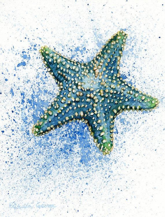 Blue Starfish watercolor PRINT 5x7 8x10 by PriscillaGeorgeArt