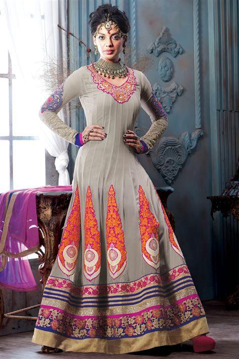 Vivacious Mugdha Godse Grey Georgettte Designer Floor Touch Suit