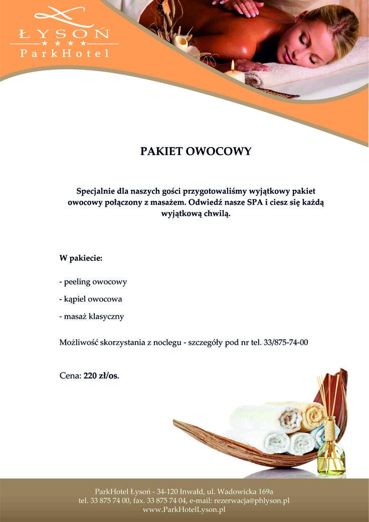 Pakiet Owocowy.  #SPA #relax #rest #pleasure #relaxation #massage #peeling #bath #fruit #accommodation #hotel