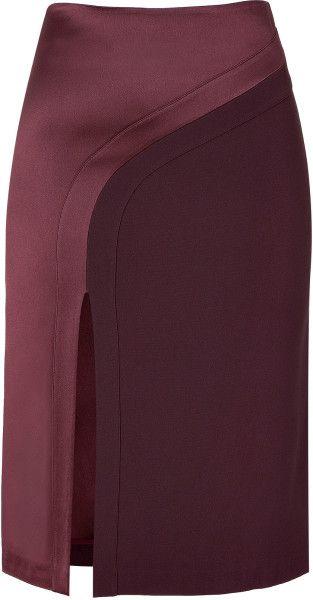 Hakaan Purple Bordeaux Pencil Skirt