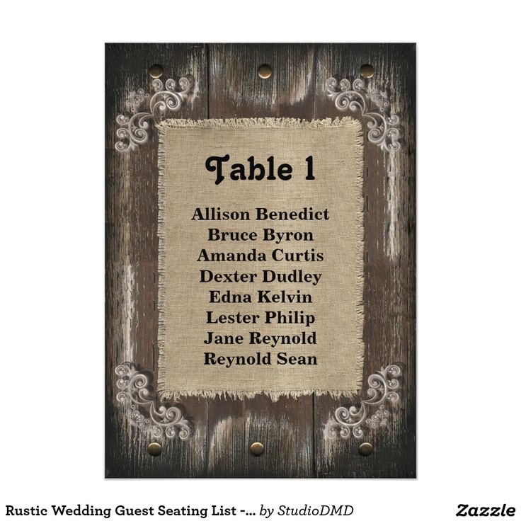 wedding invitation cards email%0A Shop Rustic Wedding Guest Seating List  Wood Burlap Card created by  StudioDMD