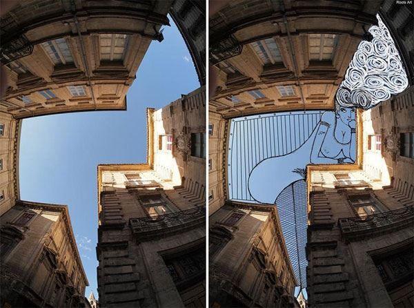 """Thomas Lamadieu, construye sus imágenes """"Sky Art"""" a partir de fotografías de las ciudades, en las que captura extensiones geométricas de cielo azul enmarcadas por edificios. Luego rellena los espacios vacíos con dibujos de hombres barbudos y mujeres de salvaje melena. Mezclando lo antiguo con lo nuevo, Lamadieu utiliza la pleistocénica aplicación Microsoft Paint para componer sus encantadores y clautrofóbicos dibujos."""
