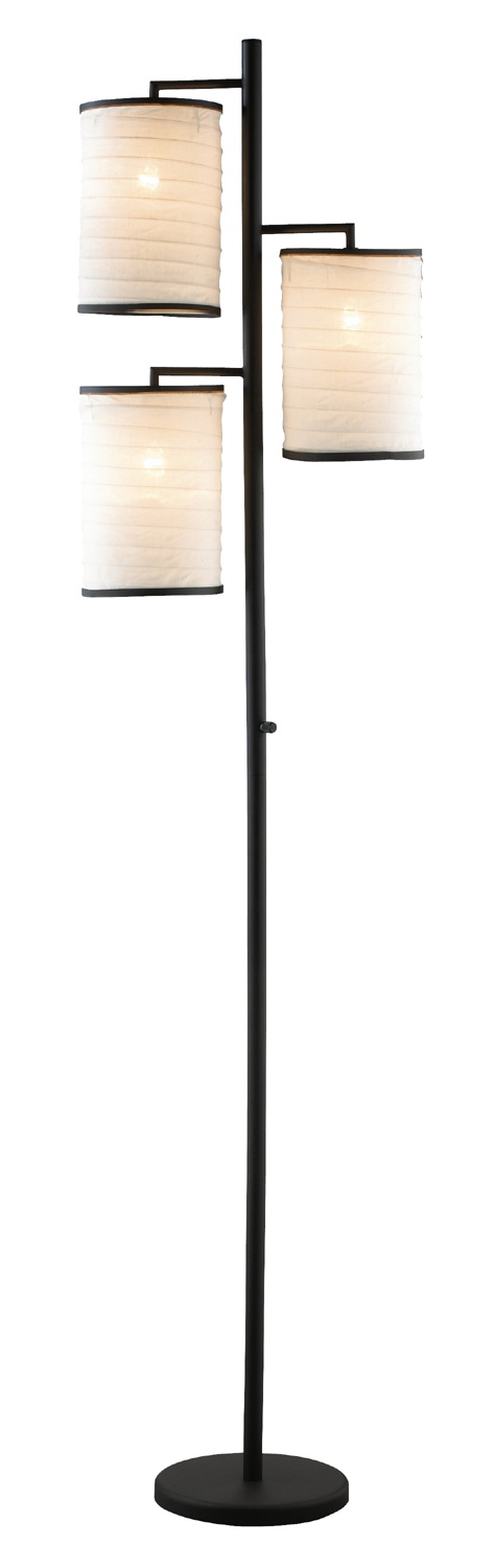 This sleek three lite floor lamp features beautiful shoji like paper shades style 01979 at lamps plus