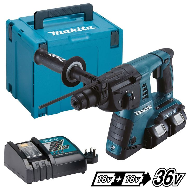 MAKITA DHR263RFJ TWIN 18V LXT SDS ROTARY HAMMER DRILL with 2 x 3.0Ah Li-ion Batteries...Powered by two 18V Li-ion batteries in series;
