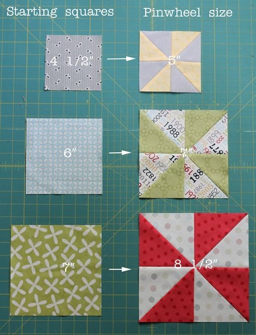 Pinwheel sizes, Cluck Cluck Sew Fast HST method - starch the starting squares = 4 HSTs turn out perfectly. Here are the starting square sizes and finished pinwheel sizes from them