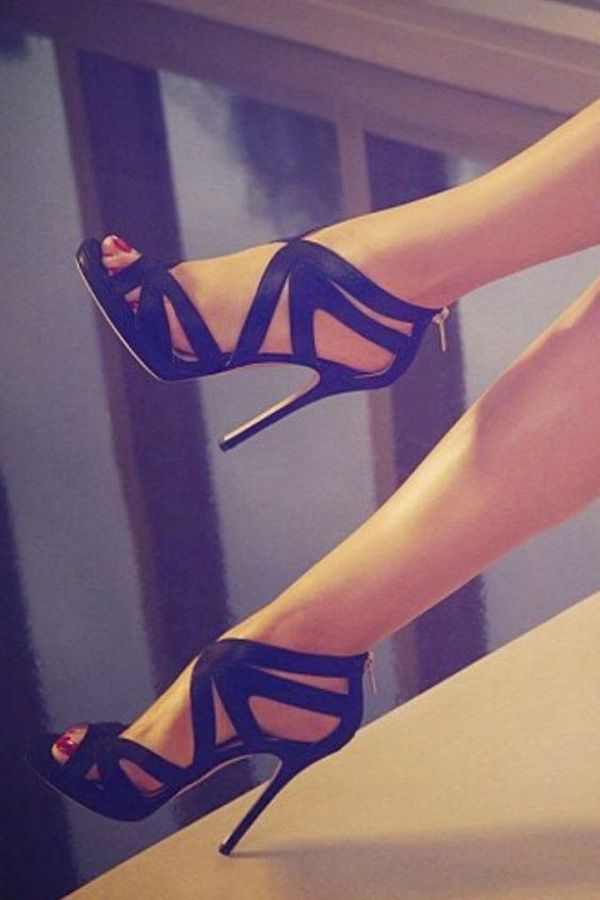 This strappy ankle-strap high heels is perfect for those party nights with friends. Works best with that little black-dress you've been hiding in your closet for a long time. It makes you feel bold and daring.