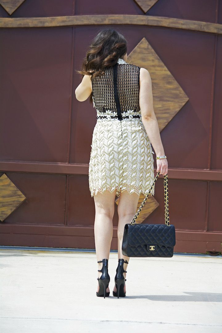 White, Black & Gold: Embroidered, Crochet Lace Dress   (Topshop, Chanel, jumbo flap bag, Kendall + Kylie heels )