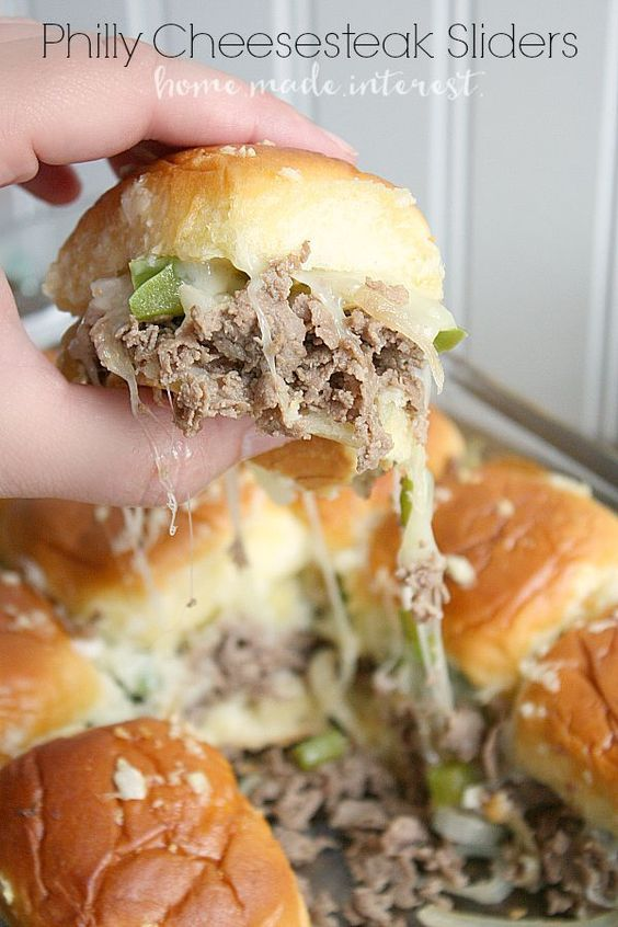 These sliders make great party food especially during football season. Make everyone happy at your next game day party with Philly Cheesesteak sliders!These sliders make great party food especially during football season. Make everyone happy at your next game day party with Philly Cheesesteak sliders!