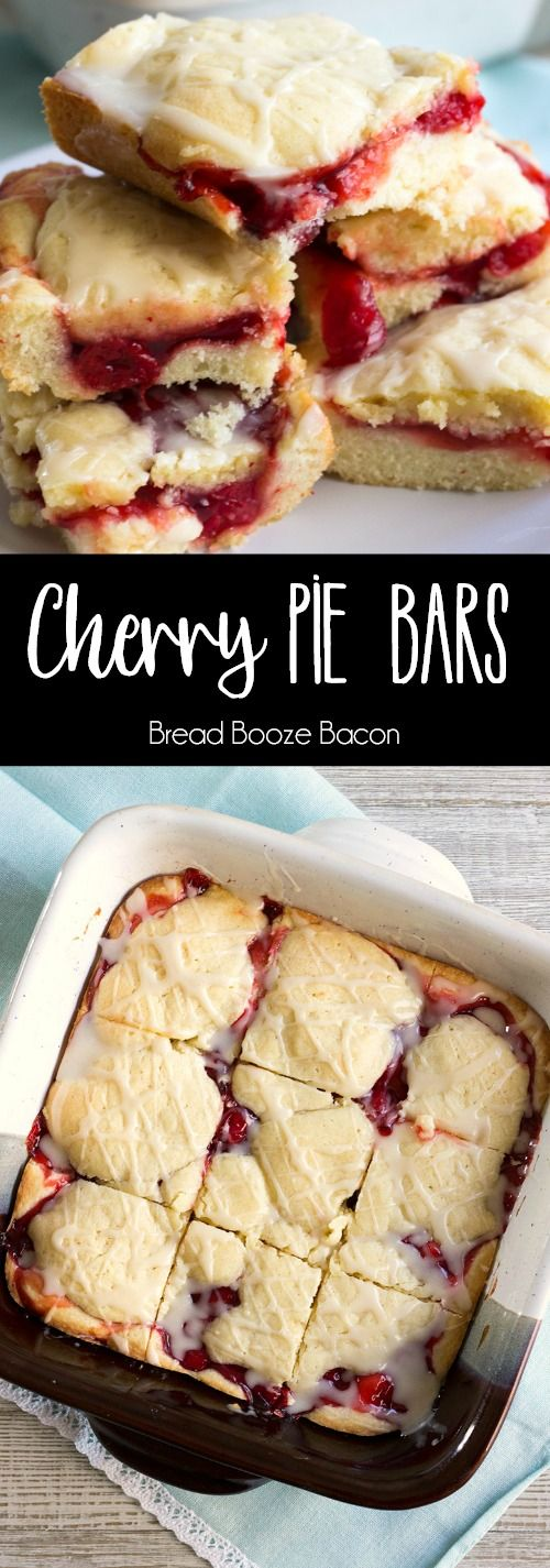 Cherry Pie Bars are an easy to make treat with all the pie flavors you love in bar form! This simple dessert recipe is sure to become a summer favorite! via @breadboozebacon