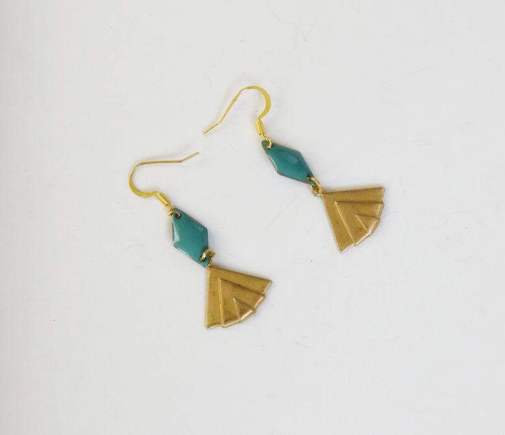 Boucles d'oreilles Graphique Art déco éventail turquoise en laiton doré