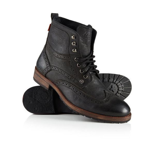 Superdry Jacob Boots ($130) ❤ liked on Polyvore featuring men's fashion, men's shoes, men's boots and black