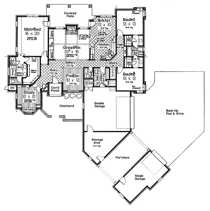 French Country Garden Design Layout: 3 Beds 2.5 Baths 2565 Sq/Ft
