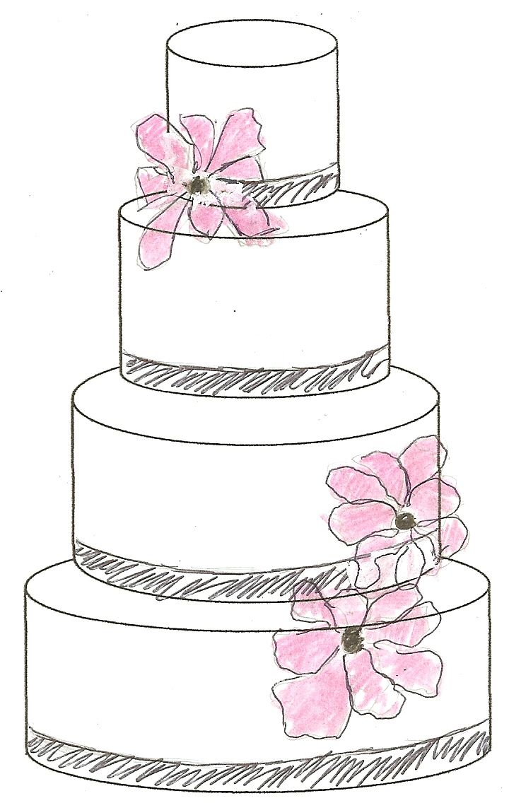 Cake sketch behind the scenes pinterest sketches for Decor outline