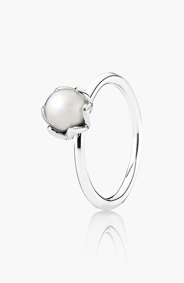 Free shipping and returns on PANDORA 'Cultured Elegance' Pearl Ring at Nordstrom.com. A lustrous pearl solitaire nests in the floral-looking setting of this stackable sterling-silver ring.