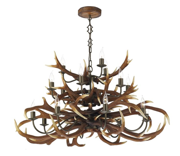 David Hunt ANT1729 Antler 17 light tiered pendant in highland rustic.